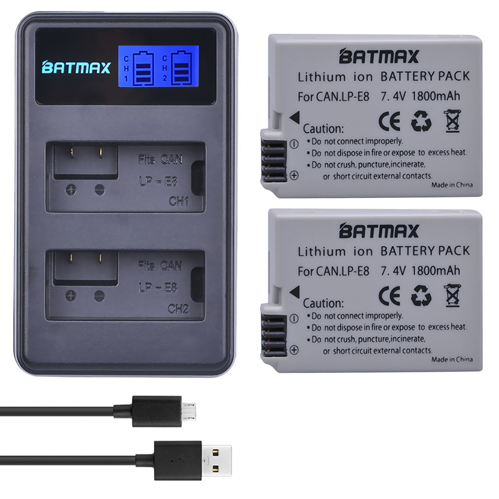 LCD Batterie Dual-Charger LPE8 EOS 700D 600D 650D Canon T2i 550D 1800mah for 700d/X4x5/X6i/.. title=
