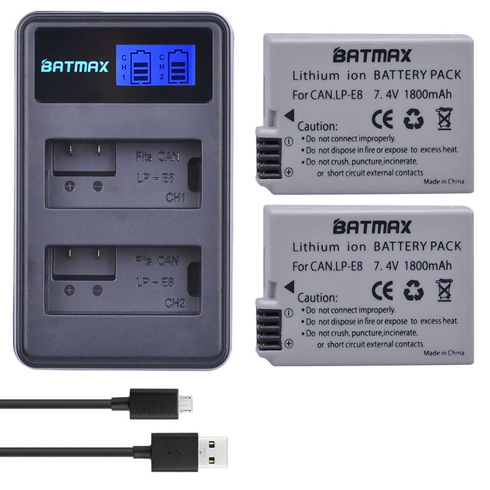 LP-E8 LPE8 LP E8 batería AKKU + LCD Dual cargador para Canon EOS 550D 600D 650D 700D X4 X5 X6i X7i T2i T3i 2 uds., 1800mah