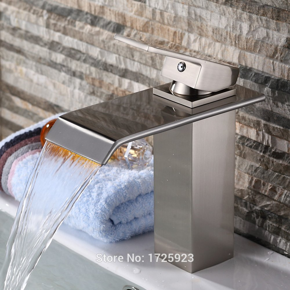 6 quot brushed nickel finish single handle waterfall bathroom sink faucets mixer taps cheap widespread unique