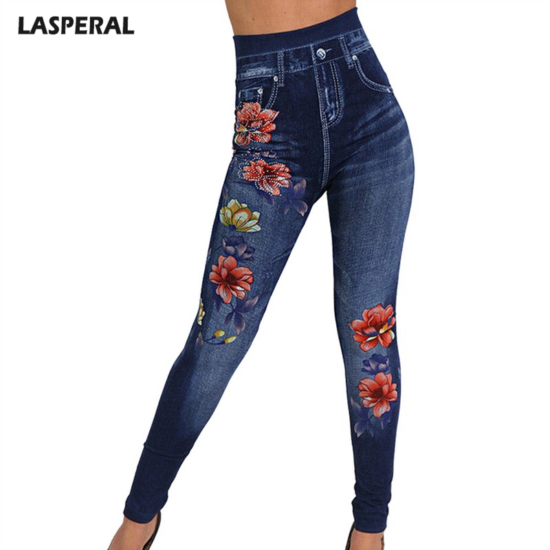 LASPERAL Woman Print Jeggings Denim Skinny Trousers 2019 Fashion Women Leggings Summer Autumn Slim   Jeans   Leggings Plus Size 3XL