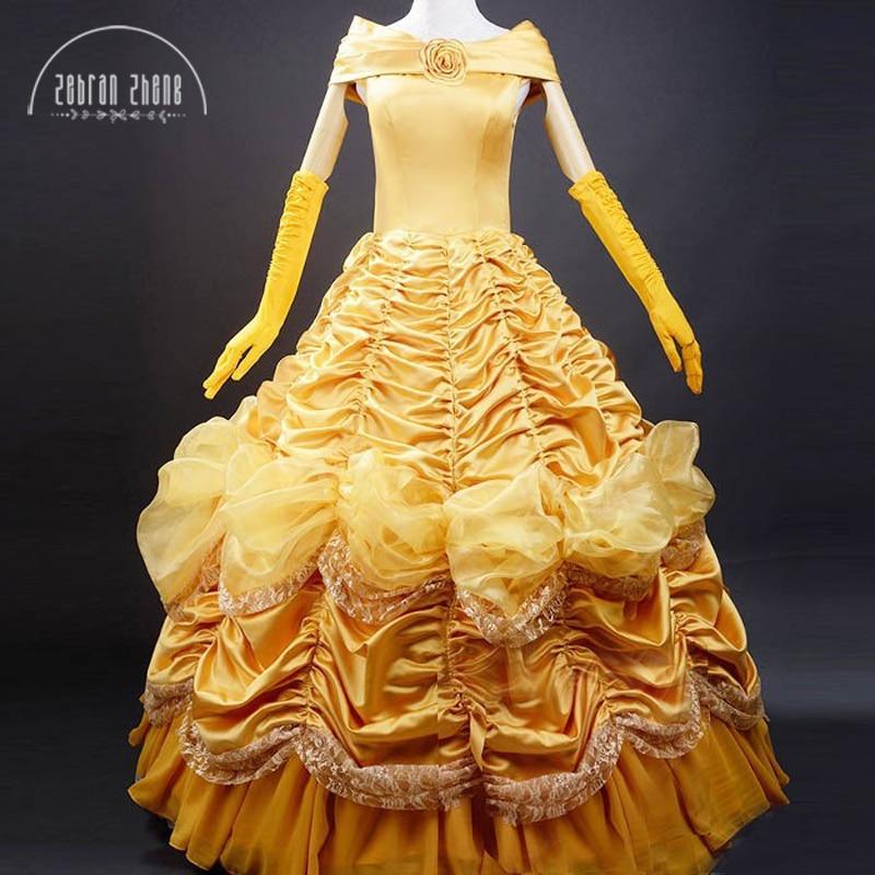 Принцесса Белль костюм для взрослых Для женщин Красота и чудовище костюм для Платье для костюмированной вечеринки на Хэллоуин специальное ...
