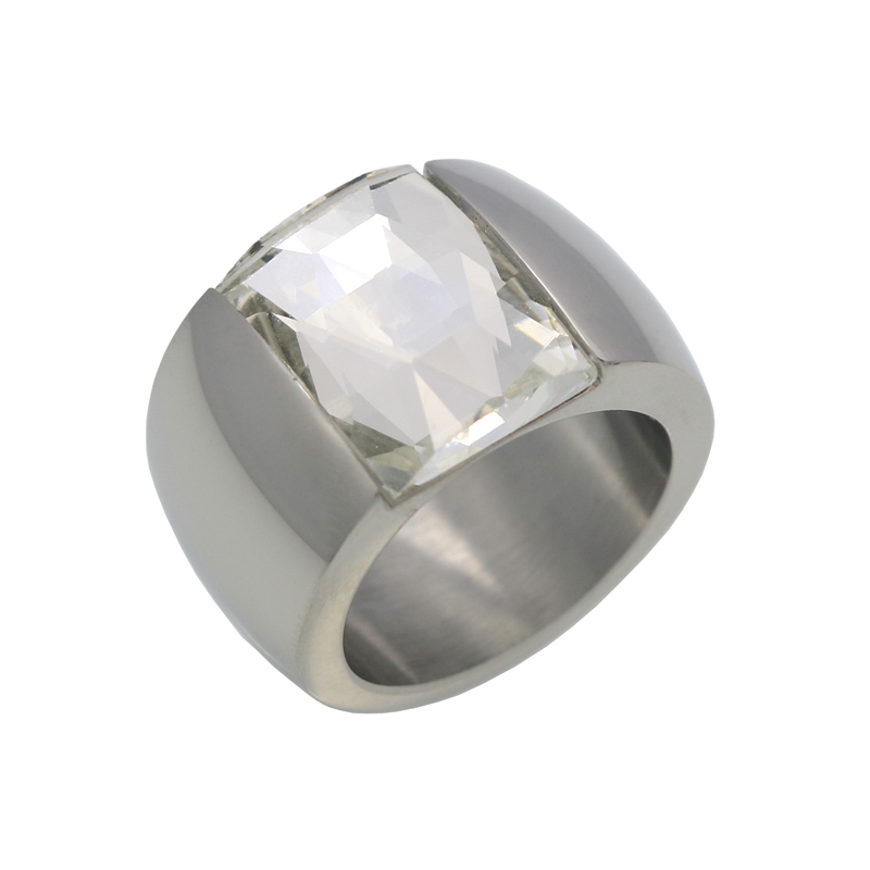 Fashion Brand Stainless Steel Ring For Women Austrian Crystal Blue Green Red Stone Ring Gold Color Female Wedding Ring  Band 5
