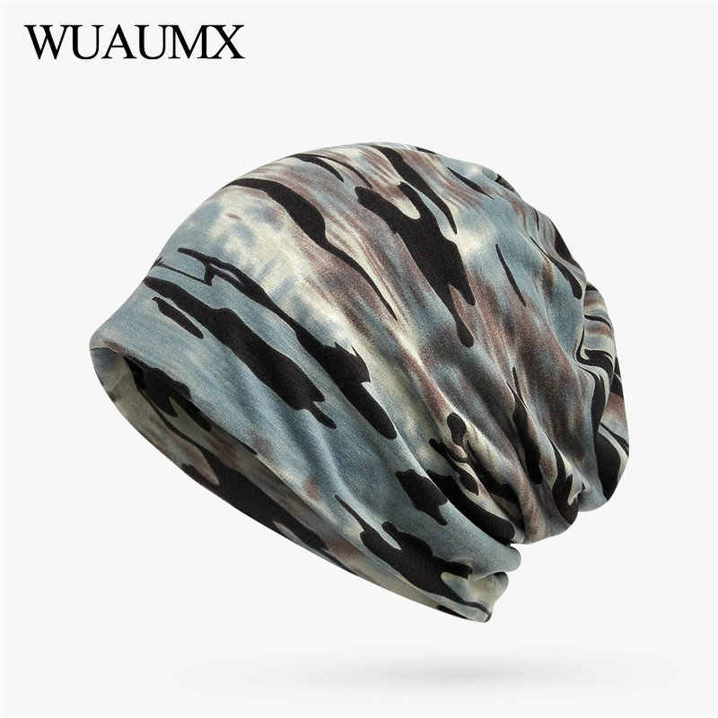 fdf2047dd48 Wuaumx Unisex Camouflage Beanies Hats For Men and Women Flexible Turban Hats  Ring Scarf Hip Hop
