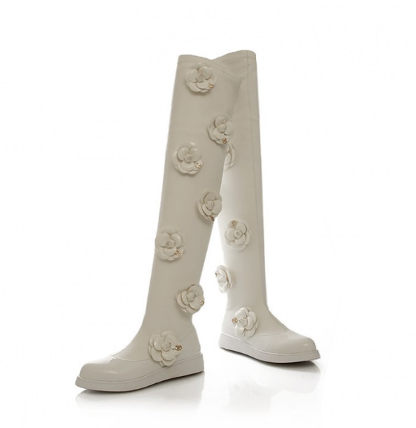 ФОТО Small Size 33 Plus Size  Black White Leather Over the knee Boots for Women Floral Camellia japonica Female Flats Tall Boots