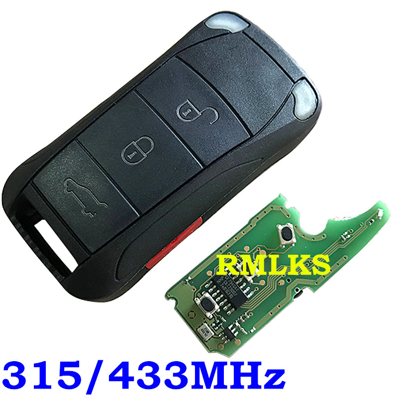 4 Buttons Remote Key Control Fob 4 Buttons 315MHz 433MHZ ID46 Chip For Porsche Cayenne 2004-2010 With Uncut HU66 Blade