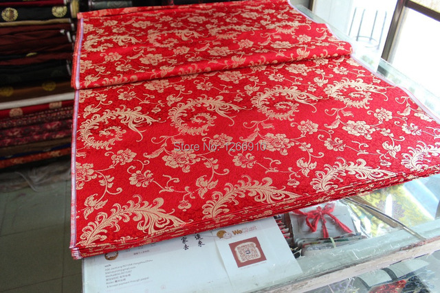 chinese silk brocade woven damask damask fabric cheongsam cushion red back golden Phoenix  Peacock tail cosplay