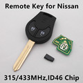 Car Remote Key 2 buttons for Nissan March Sunny Tiida Sylphy Maxima Altima Sentra Versa with Chip ID46 Keyless Entry Fob