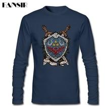 Men Tee  Shirts Round Neck Long Sleeve Cotton The Shield The Legend Of Zelda Latest Designing T-shirt Men Boy