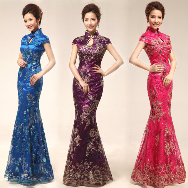 New 2014 Wholesale And Retail Embroidered Cheongsams Formal Dress