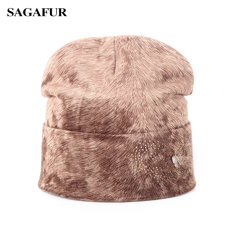 Fashion Brand Velvet Hat Female Winter Caps Women's Rhinestone Butterfly Bowknot   Skullies     Beanies   For Ladies Elegant Bonnet Hats