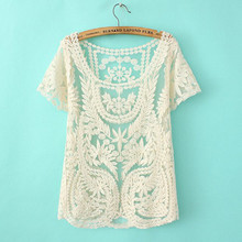 Short sleeve summer tops women sexy see-through embroidery lace blouse cute ladies lace tops beach cover up blusa com renda