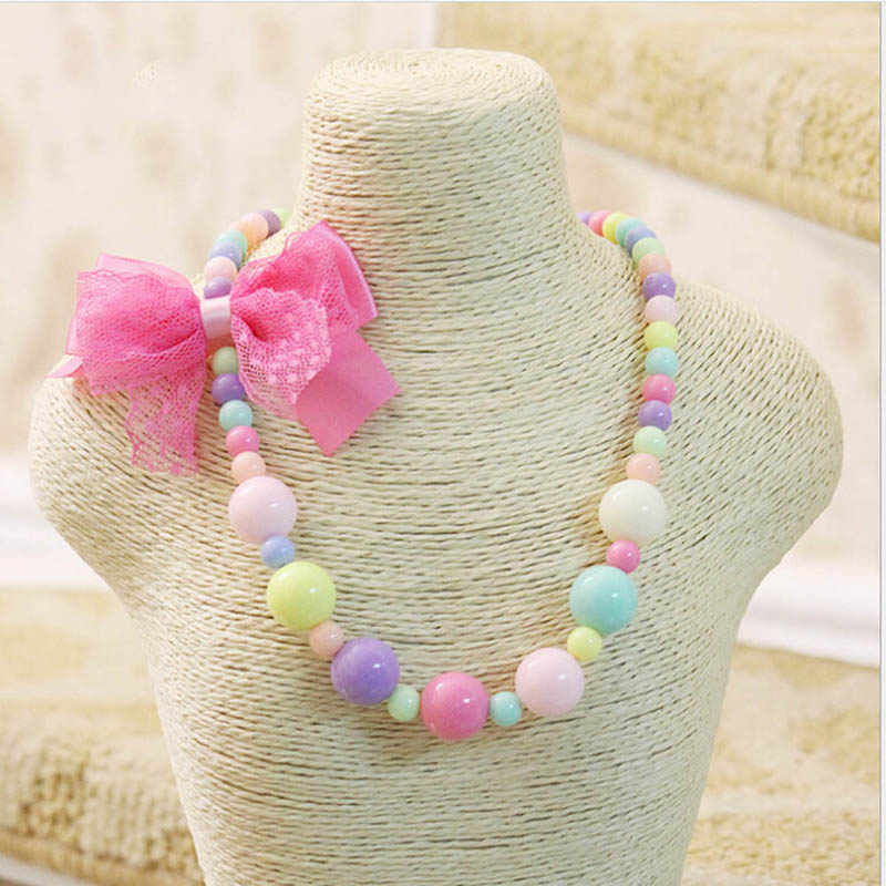 Children Candy Bead Lovely Heart Flower Pendant Princess Girl Necklace Gift for Baby Kids Jewelry Choker