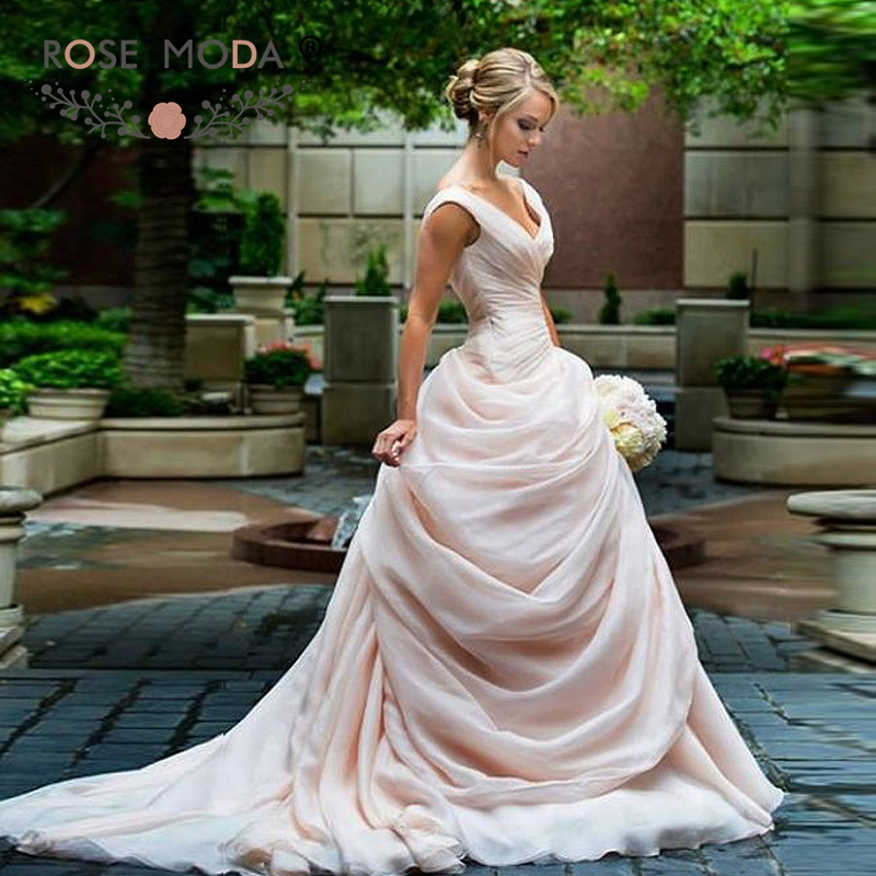 Blush Pink Wedding Gowns: Rose Moda Gorgeous Off Shoulder V Neck Blush Pink Wedding