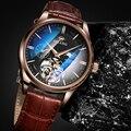 Мужские автоматические механические часы Tourbillon  спортивные часы с кожаным ремешком  повседневные деловые наручные часы золотого цвета