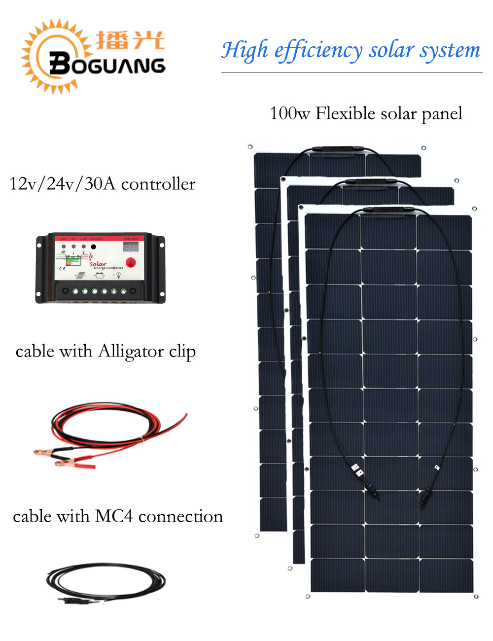 все цены на Boguang 300w solar system 100w flexible solar panel 30A controller cable for 12v battery RV yacht car boat camping tent light онлайн
