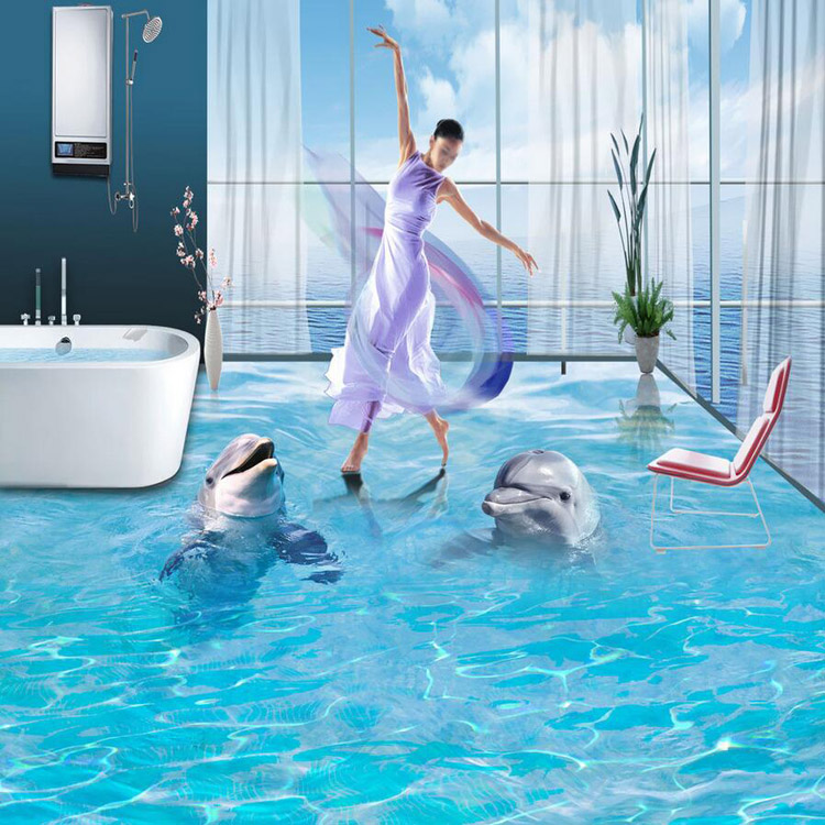 Professional hd 3d floor mural design bathroom floor for Bathroom floor mural sky