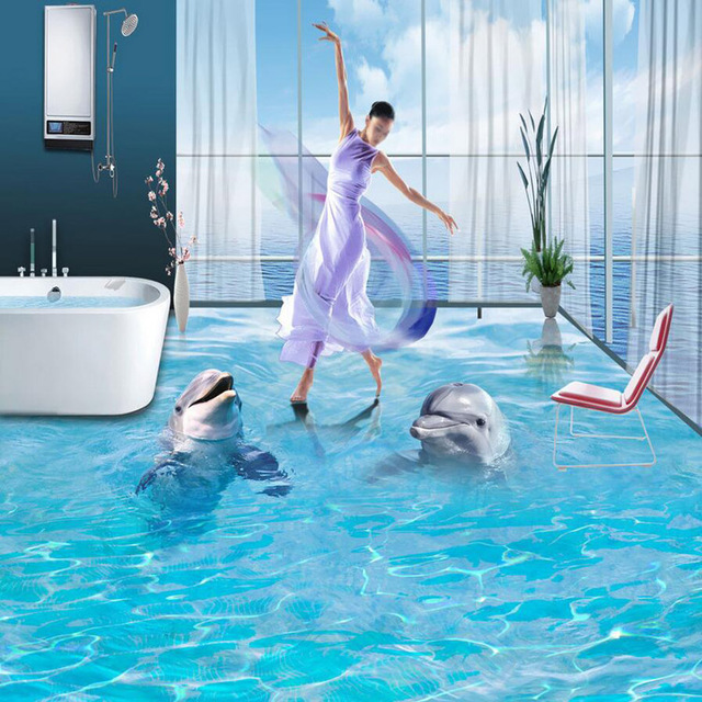 Professional HD 3D Floor Mural Design Bathroom Floor Wallpaper Dolphin  Design Waterproof PVC Wallpaper