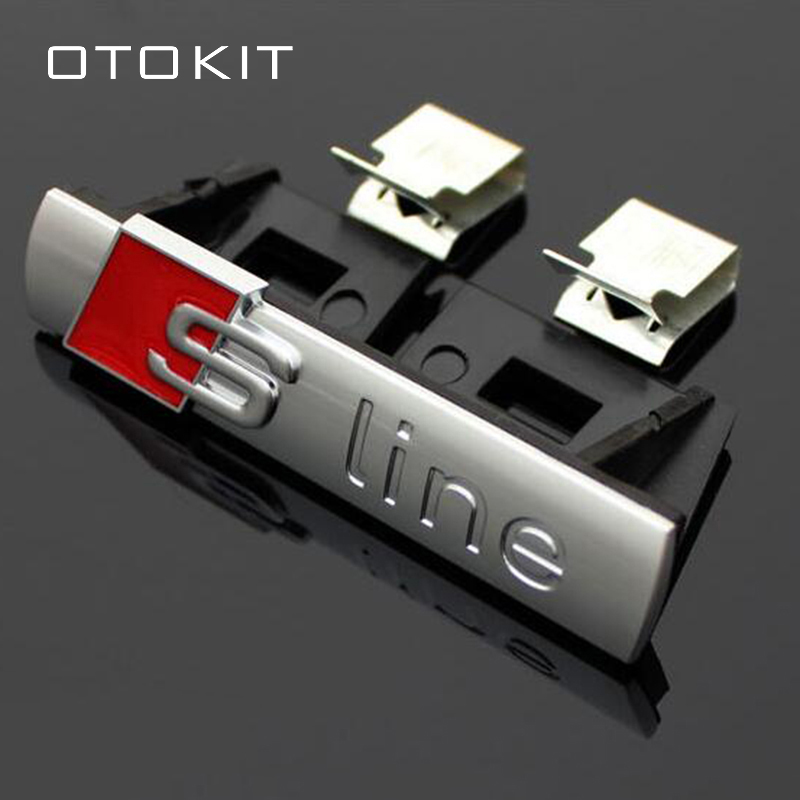 3D S-Line Sline Front Grille Emblem Badge Chrome Plastic ABS Front Grille Sticker Accessories for Audi A1 A3 A4 B6 B8 B5 B7 A5 1pcs 3d metal s5 car front grille adhesive emblem badge stickers accessories styling for audi a5 s5