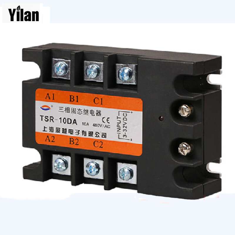 цена на 10DA TSR-10DA-H Three-phase High voltage type SSR input 4-32V DC load 90-480V AC single phase AC solid state relay