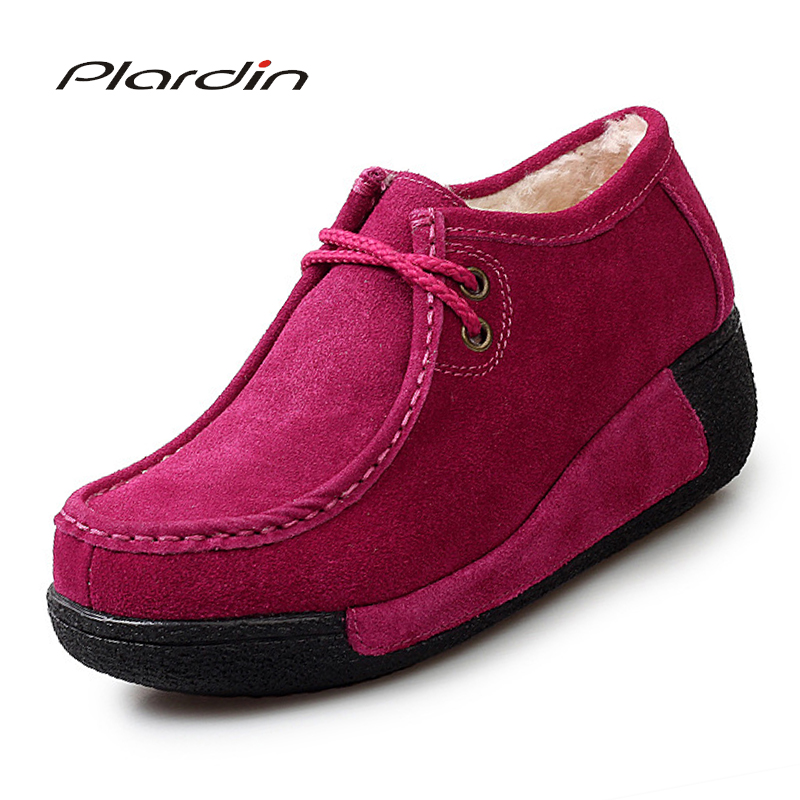 Plardin New Women Flats Platform Shoes   Suede     Leather   Lace Up Women Moccasins Creepers Slipony Female Casual Shoes Ladies Winter