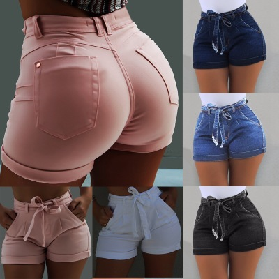 Women Summer High Waist Denim Shorts Skinny Washed Short Jeans Pants Ladies Casual Bandage Short