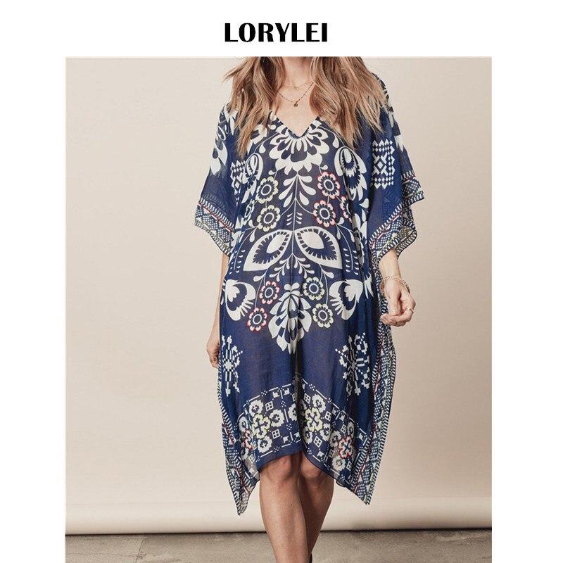 2019 Blue Transparent Symmetrical Printed Knee Length Chiffon Beach Dress Loose Sheer Tunic Plus Size Women Summer Dress Q396