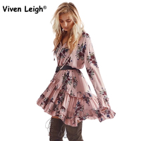Viven Leigh Women S Summer Dresses Ruffle Floral Dress 2018 Flare Sleeve Beach Dress Female Sundress