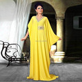 New robe de soiree long robe longue femme Arabic Evening Dress Yellow Long Formal Gown