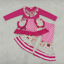 Yawoo Popular Baby Girl Clothes Dress Outfits Top With Pocket +Pants Boutique Kids Clothing Sets Suit