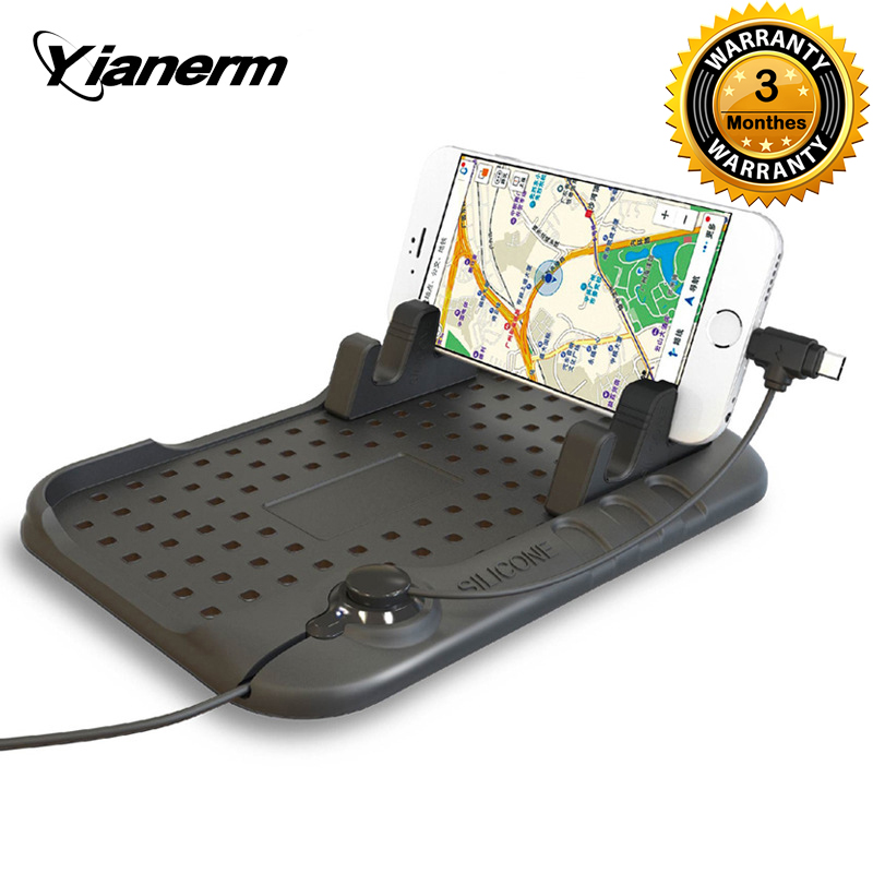 Yianerm Magnetic Charging Cradle Dock Stand Anti slip Silicone Pad Car Phone Holder For iPhone Android