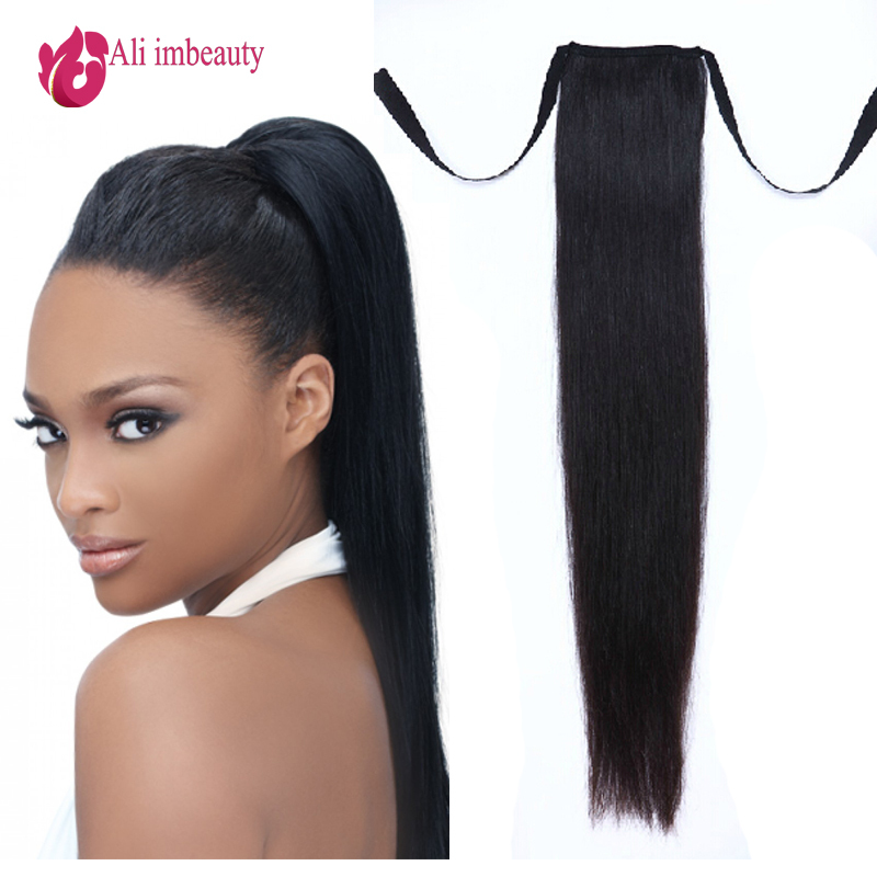 Grade 6A Remy Human Hair Ponytails Straight 100 Ponytail Clip In Extensions Natural Black 60g 100g From