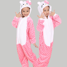 Hot Cute Anime Pink Hello Kitty Cat Pajamas Children's Kids Unisex Cosplay Animal Costume Onesies Girls Boys Al In One Rompers
