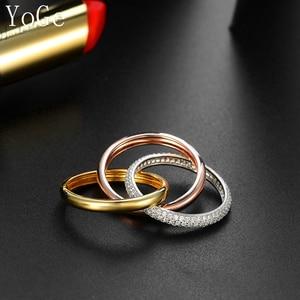 Image 3 - YoGe bijoux de mariage et fête pour femmes, anneau de luxe R3666 en triple taille AAA CZ
