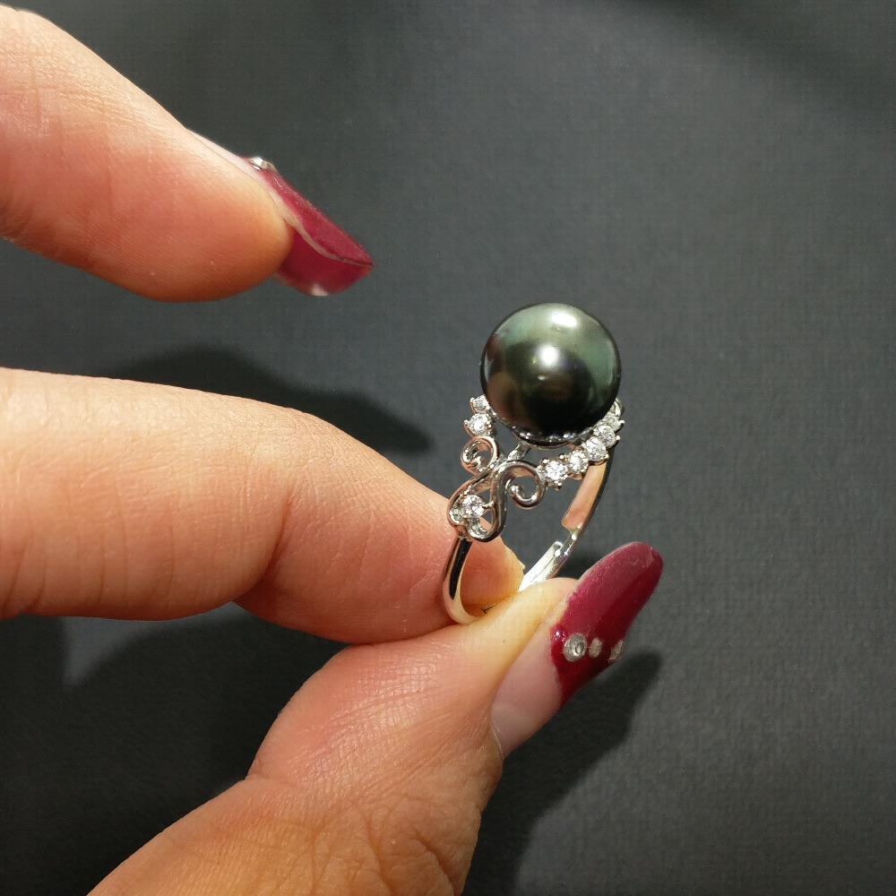 FLZB, Classic Ring Natural Tahitian Black Pearl Perfectly Round 8-9mm Elegant Ring In 925 Sterling Silver With 18k Plated Ring