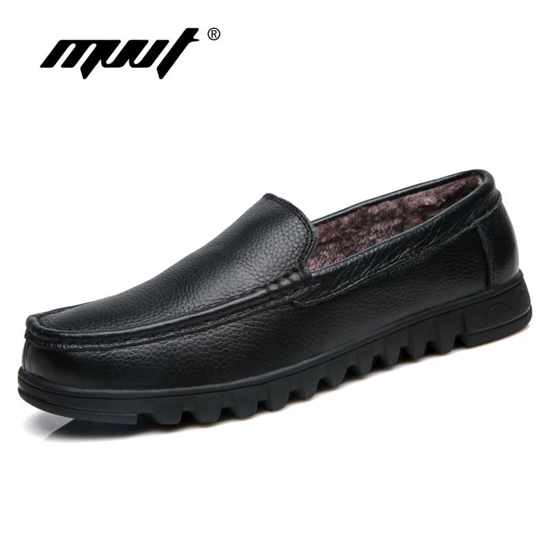 Mvvt Brown winter 48 Hommes marron Classique Cuir Souple Noir Mocassins Slip Chaussures winter Véritable Fur Winer En Respirant Appartements Sur Conduite Black rrxn41