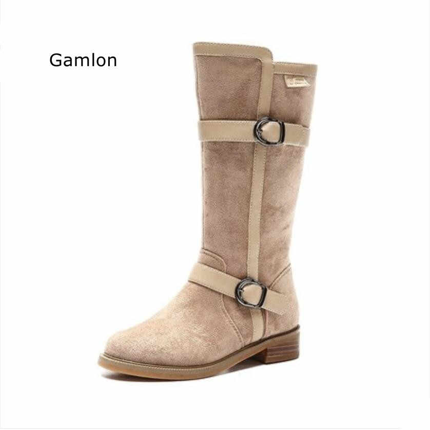 d562dbcf689f4 ... Gemlon Children's Girls Boots 2018 New Autumn Winter Mid-calf Flock Buckles  Boots Winter Children's ...