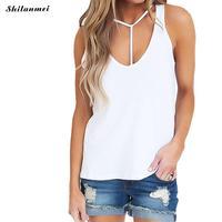 Women Sexy Summer Tops 2017 Hollow Workout Black Donut Sleeveless Tank Top Women Camisole Femme White Halter Top T Shirt S-XXL