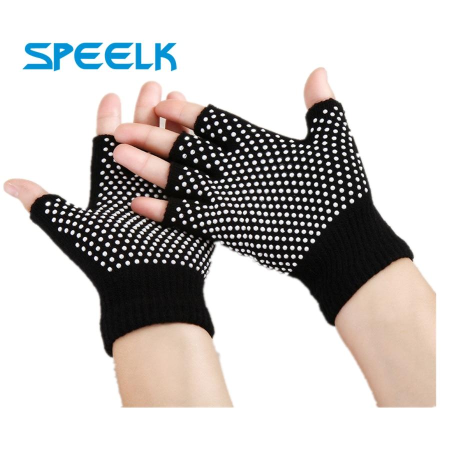 New Cotton Half Finger Yoga Gloves Women Non-slip Sport Glove Female Knitted Open Toe Gloves Breathable Particle Dot Glove