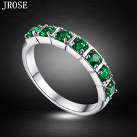 JROSE Wholesale Classic Couple Jewelry Emerald Quartz 18K White Gold Plated Ring Size 6 7 8 9 10 Free Shipping Fashion Gift