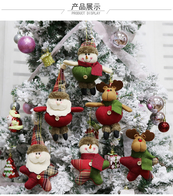 10pcs high quality crystal christmas ornaments gift santa claus snowman tree toy doll hang decorations gift - Crystal Christmas Decorations