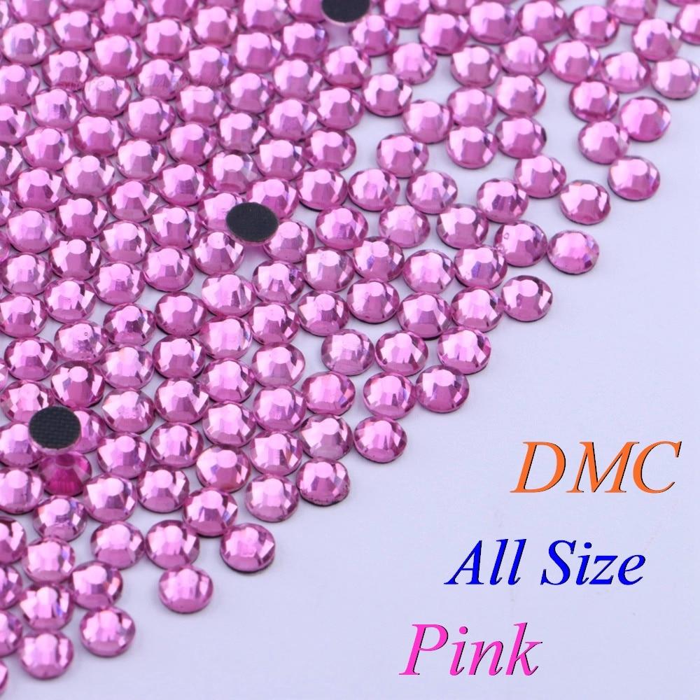 All Size! Pink, DMC Hotfix Rhinestone SS6 SS10 SS16 SS20 SS30 Glass Crystals Stones Hot Fix Iron-On FlatBack With Glue