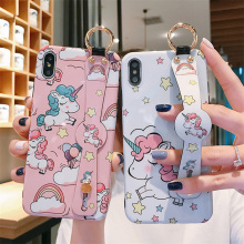 unicorn wristband silicon case for iphone 8 7 6s 6 plus X XR XS MAX cover cute 3d cartoon holder soft phone bag capa fundas