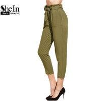 SheIn Ruffle Waist Self Belt Tailored Elastic Waist Pants Army Green High Waist Trousers Women Office