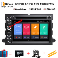 HD 1024*600 Android8.1 Car DVD GPS Player for Ford F150 EXPEDITION,EDGE,FUSION,EXPLORER WIFI 4G Bluetooth Radio Stereo 2G RAM SD