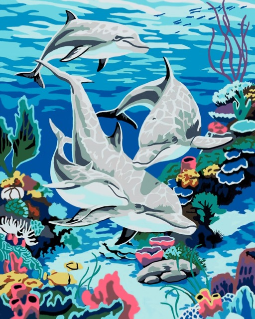 Happy Dolphin DIY Oil Painting By Numbers Frame Drawing Kits Paint ...