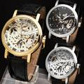 WINNER Women Couple Luxury Mechanical Wrist Watch Leather Strap Retro Style Roman Number Skeleton Movement
