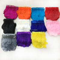 5yards/lot Beautiful Handwork multi Color geese feather Stripped Goose Biot Feather Trim Angel Wings Craft