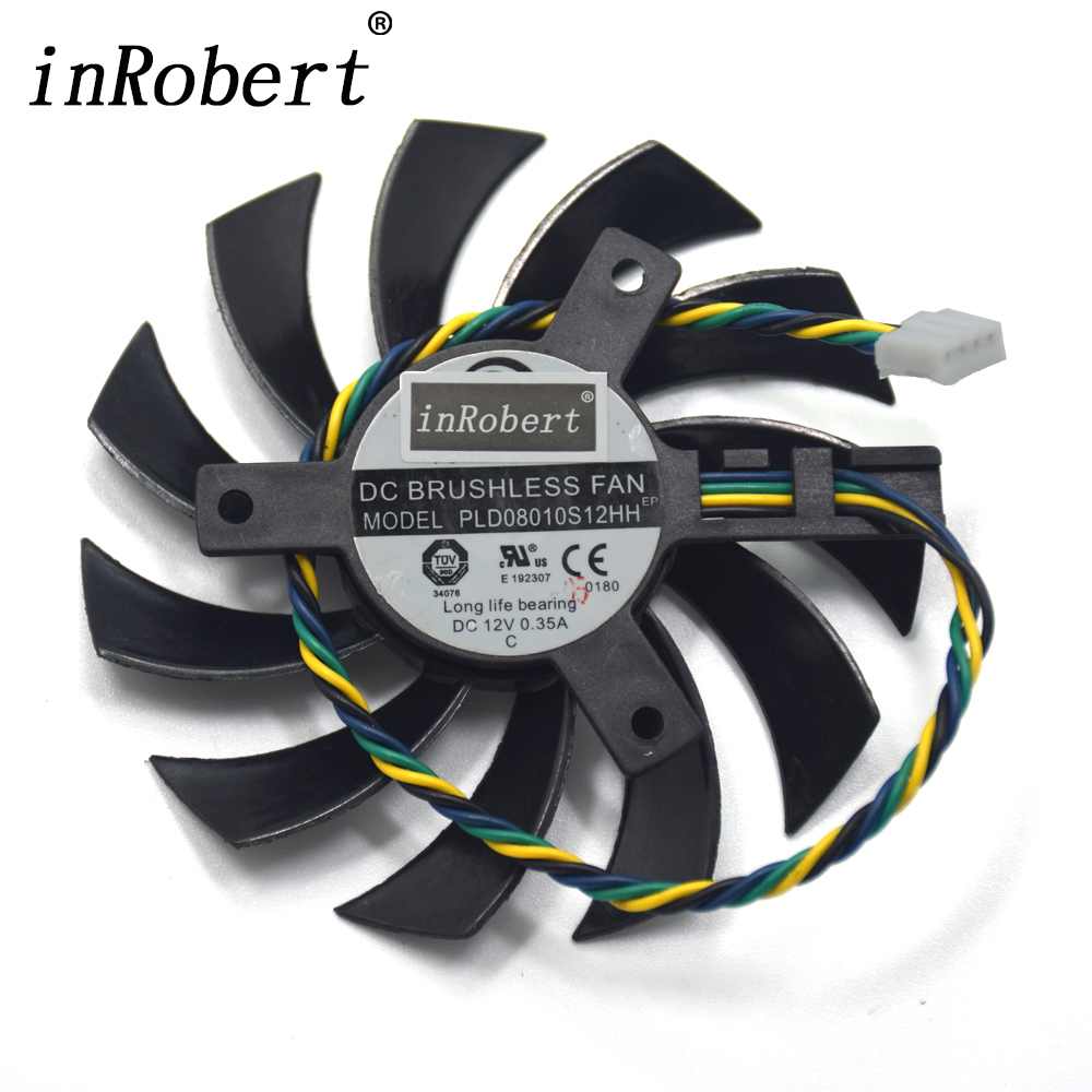 Power Logic PLD08010S12HH 75MM Cooler Fan For MSI R5750 R6750 R6770 MD1GD5 HD6750 HD5750 Graphics Card DC 12V 0.35A Cooling Fan free shipping power logic pld10010s12m 12v 0 20a 95mm for gigybyte gvn550wf2 n56goc r667d3 r777oc graphics card cooling fan 2pin