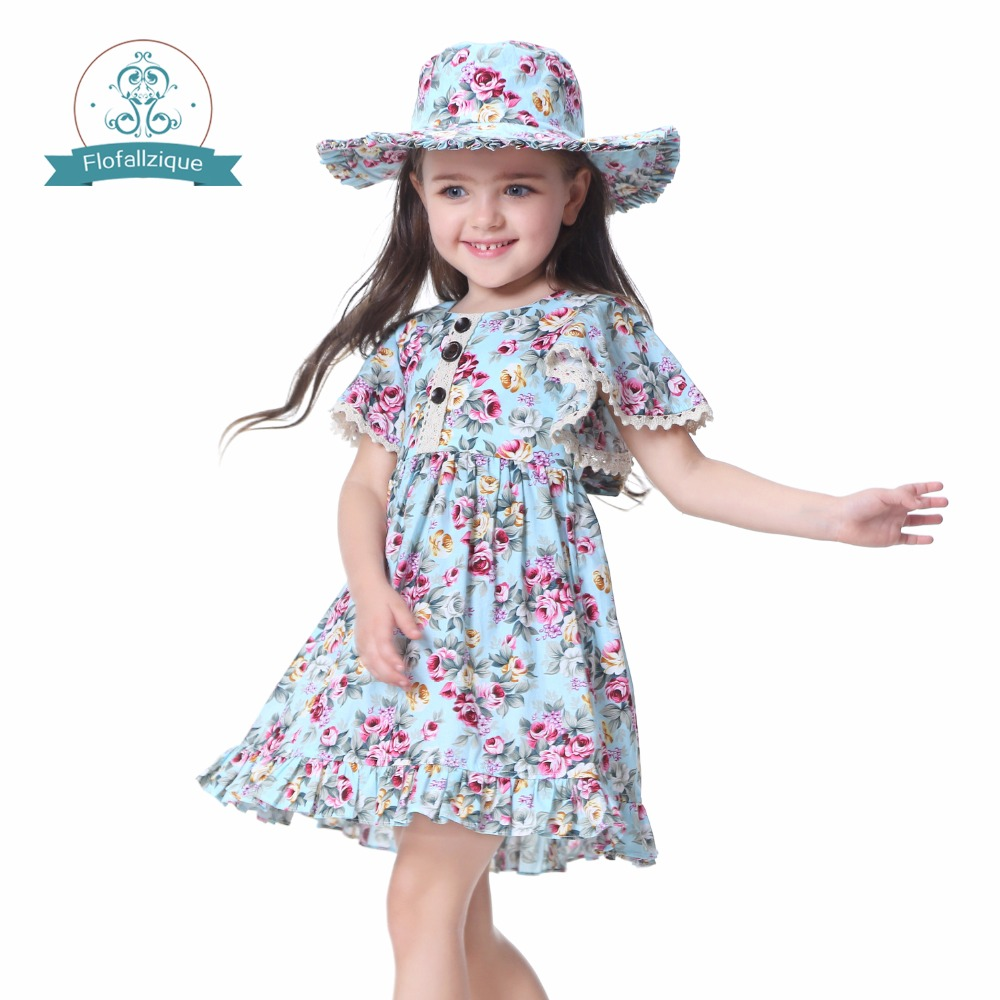 Baby Girls Dress with Hat 2018 Brand Toddler Girl Summer Clothes Kids Costumes Floral Print Ruffle Princess Party Dresses 1-8Y