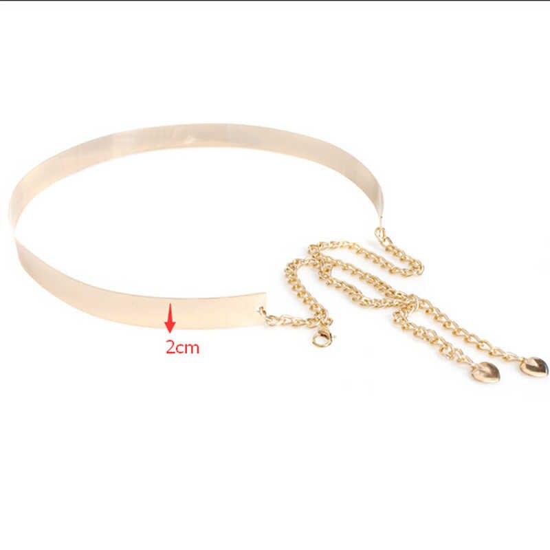 1 PC 66 cm paski damskie Punk w całości z metalu lustro pas biodrowy metaliczny złoty talerz szeroki Cummerbunds z łańcuchami pani